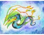 Pokemon Mega-Rayquaza Dragon redesign illustration - 5x7 inch print