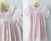 Vintage Girls Dress, Pink Lace and Floral Cotton Dress, Easter Apron Dress, Two in One, Roses and Ruffles, by Bryan, size 5 or 6 Girl's