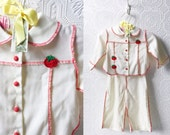 Vintage Western Baby Set, Shirt and Pants, White with Red Details, Cherry Appliqués, Little Cowboy or Cowgirl, by Pert'n Sassy, Size 12 mo