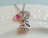 Monkey Necklace, Initial Necklace, Birthstone Necklace, Animal Jewelry, Christmas Gift, Monkey Jewelry