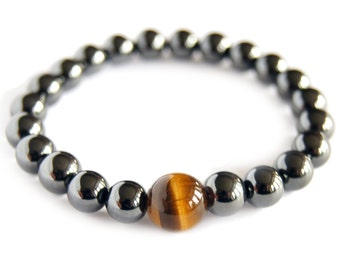 Gold Tiger Eye - GEMINI- Zodiac Bracelet - Magnetic Hematite Energy Gemstone, Astral Stone, Yoga Stack Mediation Bracelet, Focus Stone