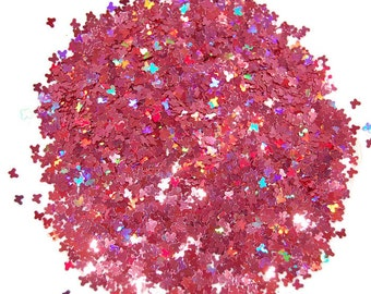 Rose SOLVENT RESISTANT Holographic Glitter BUTTERFLIES - 1 Fl. Ounce for Glitter Nail Art, Glitter Nail Polish & Glitter Crafts