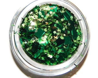 Emerald Green Sparkle Mix, Solvent Resistant Glitter Mix: 5 GRAM JAR. Raw Nail Glitter Mix for Nail Polish and Nail Art