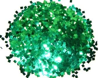 Green SOLVENT RESISTANT Glitter 0.125 x 0.125 SQUARES - 1 Fl. Ounce for Glitter Nail Art  Glitter Nail Art and Glitter Crafts
