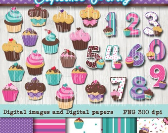 INSTANT DOWNLOAD Cupcake party Clip art -Personal and Commercial Use-