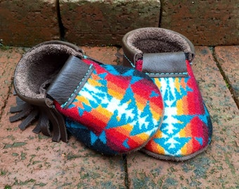 Scout Baby Moccasin 6-12 month // Turquoise Pendleton Wool Brown Leather // Rosebud Originals