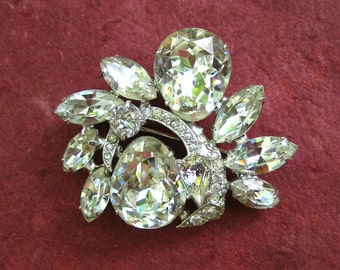 Vintage Eisenberg Crystal Rhinestone Brooch Huge Pear Swarovski