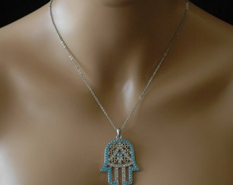 Hamsa Hand, Hamsa Hand Necklace, Turquoise Hamsa Hand Necklace charm, Gift for her, Good Luck Charm, Holiday Gift