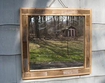 SOLD Large Primitive Rustic Barn Wood Mirror no.1605