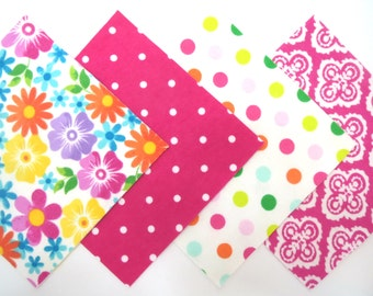 "48 Flannel Fabric Pre Cut 6"" x 6"" Squares in a Bright Flowers and Dot Matching Print Flannel Rag Quilt Kit"