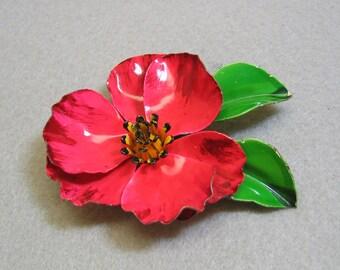 Rose Red Enamel Flower Brooch