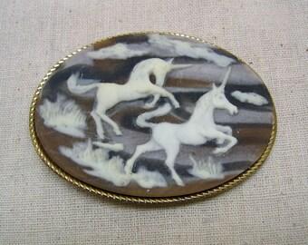 Incolay Unicorn Cameo Belt Buckle, Vintage, Original Label