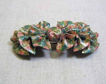 Pink and Green Ruffled Plastic Hair Barrette, 1990s, MINT