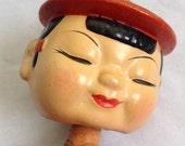 Vintage  Kokeshi Bobblehead Doll. Vintage  1950s Bobble Head, Japan.  Vintage Modernist. Mod, Mid century.