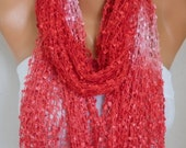 Red Knitted Scarf, Wedding Shawl,Graduation,Bridal Accessories,Bridesmaid Gift,Cowl Scarf, Gift Ideas For Her, Women Fashion Accessories