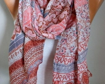 Pink & Gray Cotton Scarf, Soft Shawl Summer Cowl Oversized Wrap Gift Ideas For Her Women Fashion Accessories Beach Wrap Pareo Women Scarves