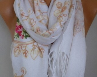 White Embroidered Scarf,Fall Scarf,Wedding Shawl, Oversized, Bridesmaid Gift, Bridal Scarf, Gift Ideas For Her, Women Fashion Accesssories