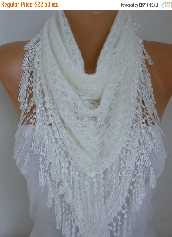 White Knitted Scarf  Lace Shawl Scarf Bridal Accessories  Bridesmaid Gifts Gift Ideas For Her Women Fashion Accessories best selling item