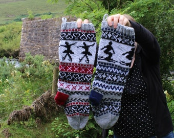 Pattern Fair Isle Christmas Stockings Skier and Ice Dancer fair isle PDF pattern only