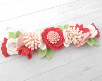 Strawberry Fields Wool Felt Flower Crown- Flower Headband - Baby Headband -Hair accessories- 9 inch flower crown