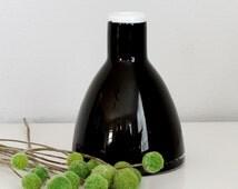 Mid Century Scandinavian Black Cased Glass Vase - Danish Modern Art Glass Vase
