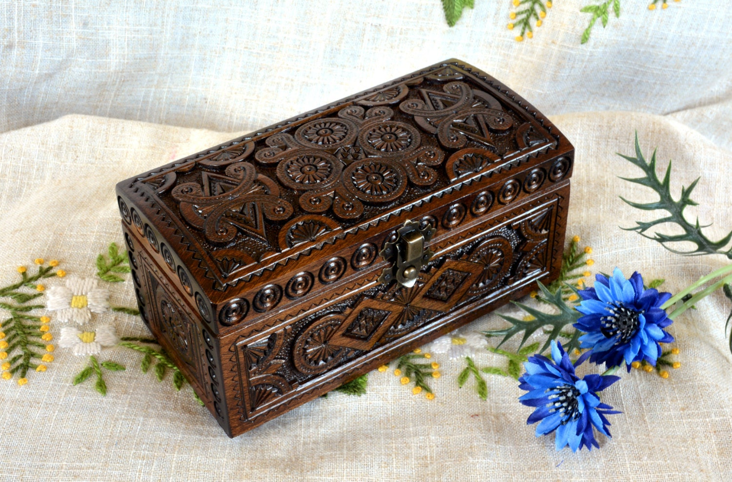 Wooden Jewelry Box Ring Box Wooden Box Wood Carving Wood Box