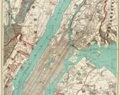 New York City Map 1890 Map of New York Newark Brooklyn Vintage Print Poster 2