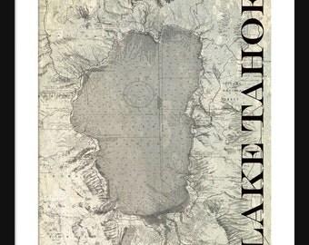 Laae Tahoe Map Vintage Print Poster Titled Gray Grunge