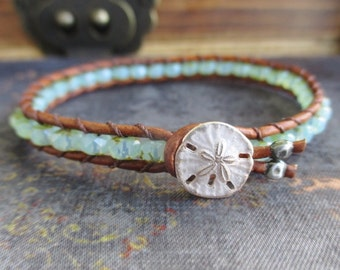 Skinny Pale seafoam green leather bracelet - SeaMist / Mint - sanddollar sand dollar button beach boho by slashKnots