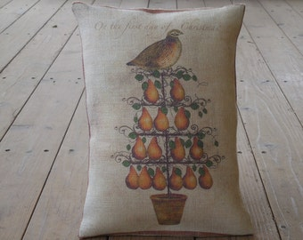 Partridge Burlap Pillow, Partridge in a Pear Tree , Days of Christmas, Holidays, INSERT INCLUDED