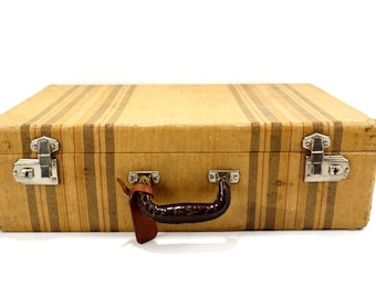 Vintage / Antique Striped Tweed Hard Sided / Hardboard Suitcase with Handle and Keys (c.1920s) - Unique Collectible Luggage, Storage Case