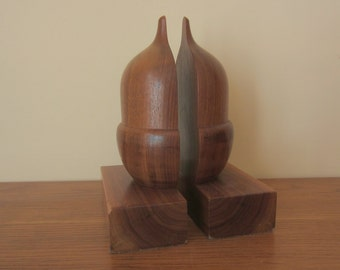 Solid wood acorn bookends.  Fantastic grain.  Solid wood acorn centerpiece.