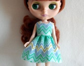 Green Chevron  Dress for Blythe -  A4B050