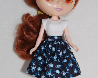 Navy Floral Blythe  Skirt  A4B057