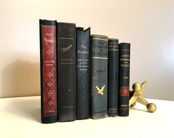 Vintage Decorative Book Set, Wedding Decor, Decorating with Books, Rustic Vintage Books, Instant Library