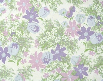Retro Wallpaper by the Yard 70s Vintage Wallpaper - 1970s Purple and Lavender Floral Daisies and Tulips in Green Grasses