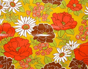 Retro Wallpaper by the Yard 70s Vintage Wallpaper - 1970s Red Brown And White Floral on Gold