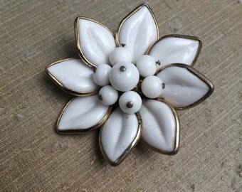 Vintage white coro flower brooch
