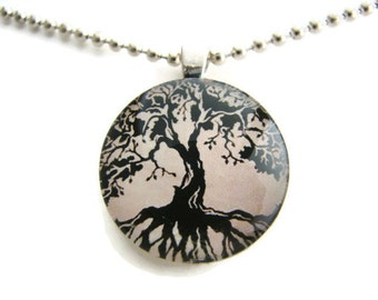 Glass Oak Tree Pendant with Free Necklace