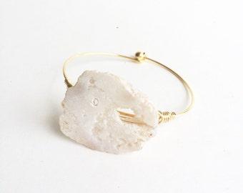 Natural Stone Bangle, Druzy Bracelet, Drusy Bracelet, White Bracelet, White Bangle, Drusy Bangle, Gussied, Wire Bangles, Stocking Stuffer