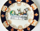 Madhatter's Tea Party from Alice in Wonderland Navy Blue Orange White Gold Display 3D Plate Sculpture for Wall Decor Birthday Wedding Gift
