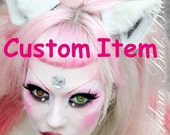 Reserved for Melissa Neel Steel Gray Grey Fur Leather Ears Inumimi Kitsune Fairy Cosplay Furry Goth Fantasy LARP Costume Pet Play