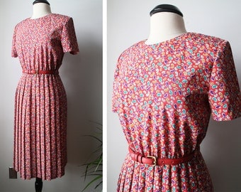 Vintage Breli Originals 80s Paisley Print Pleated Midi Dress Size 8 Womens