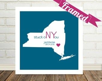 NEW YORK Map Print Personalized Valentine Gift FRAMED Art State of Love New York Art State Artwork New York Poster Valentines Day Gift