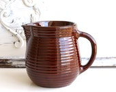 Monmouth Stoneware Pitcher - Brown Pottery Pitcher - Ribbed Pitcher - Small Pitcher