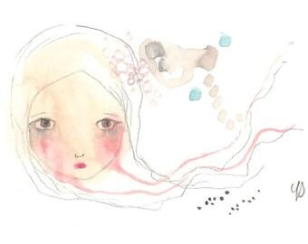 Crying girl drawing watercolour art 4 x 6 art original