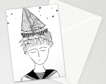 Marinero Greeting cards, Set of THREE FOLDED CARDS