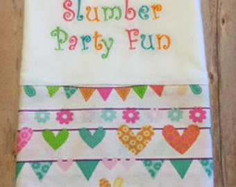 FUN Pillowcase, Bright Colors, Slumber Party, Autograph Pillowcase, Party Favor, Memory Maker, Keepsake, Clearance, Ready to Ship