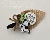 Childrens Buttonholes Best Little Man Buttonhole Boutonniere Wedding Tractor and Cow Rustic Design