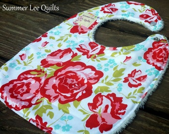 Baby Girl to Toddler Bib - Gorgeous Floral Minky Backed Bib - Red Flowers, Aqua Accents and Green Leaves - Ready to Ship